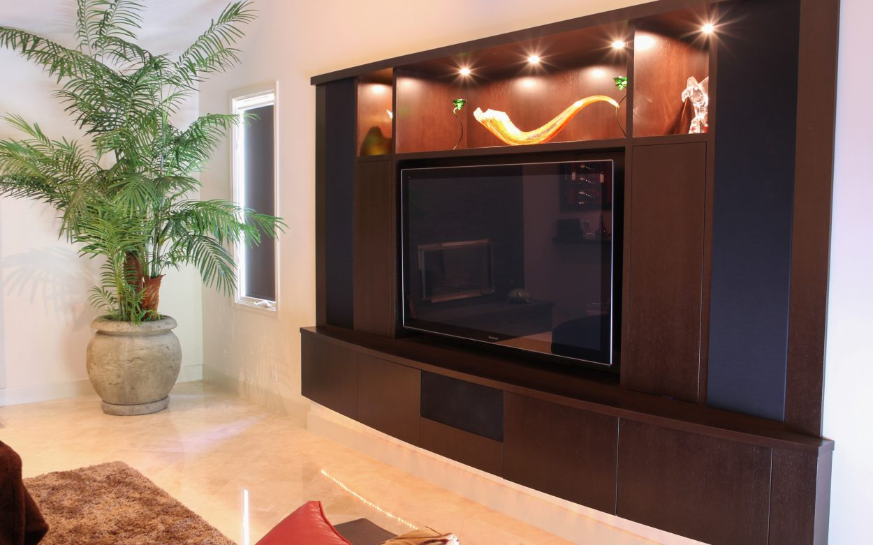 Captivating Espresso Finish On Wenge Contemporary Home Theater