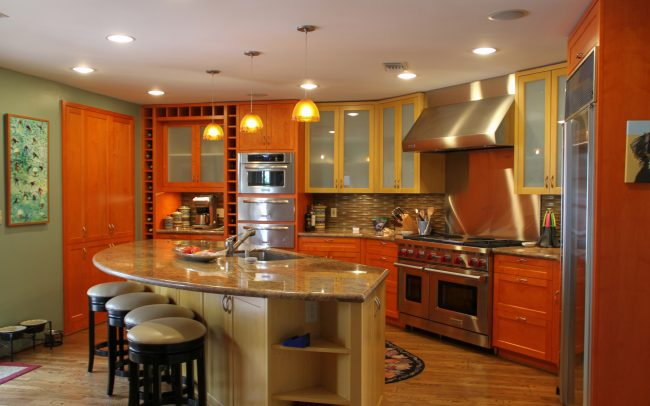 Custom Transitional Stained Maple Kitchen in Malibu