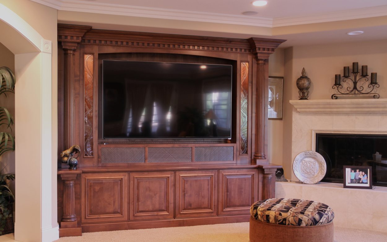 Custom Alder Home Theater Cabinet Traditional Styling