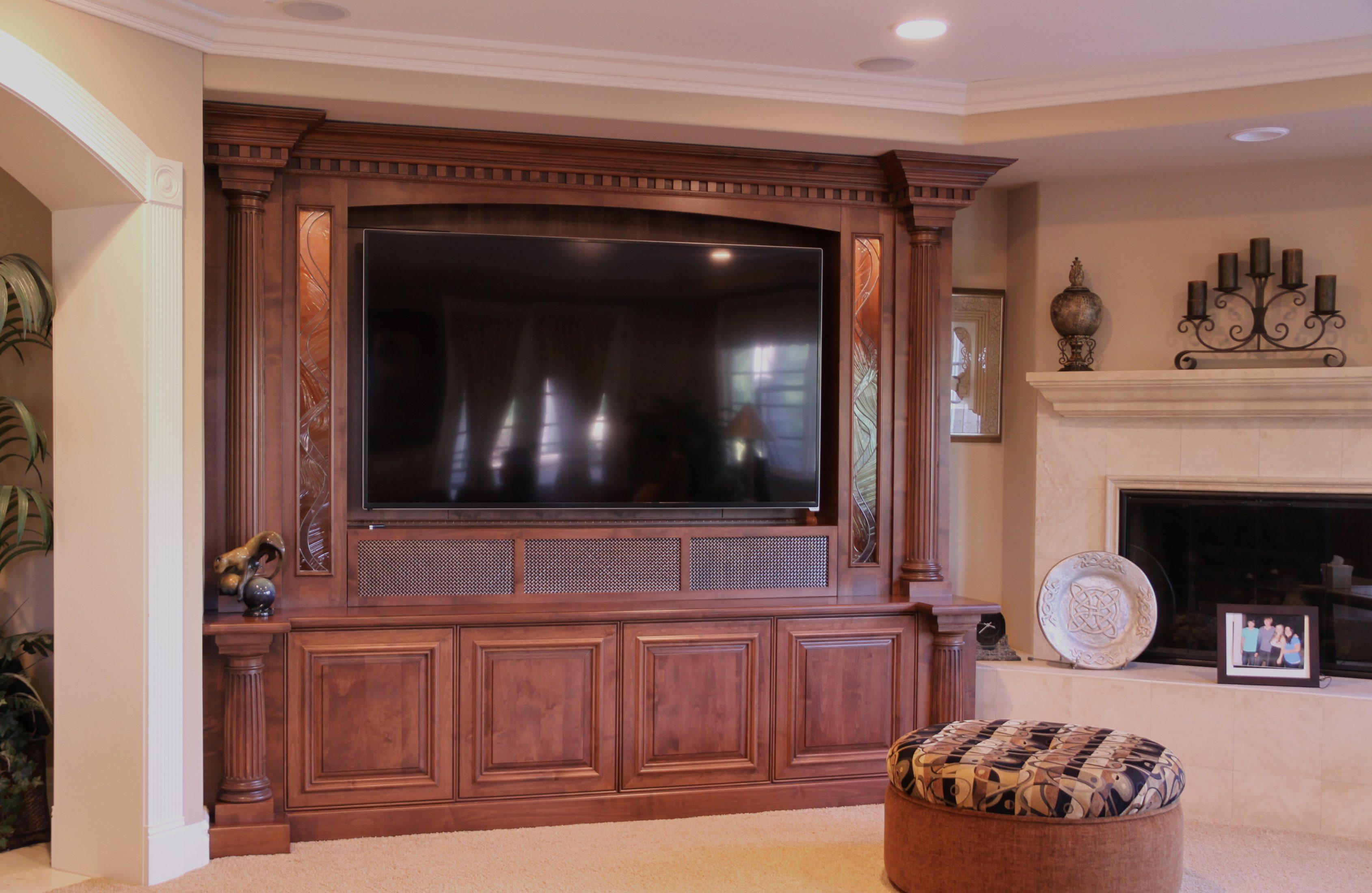 Custom Alder Home Theater Cabinet